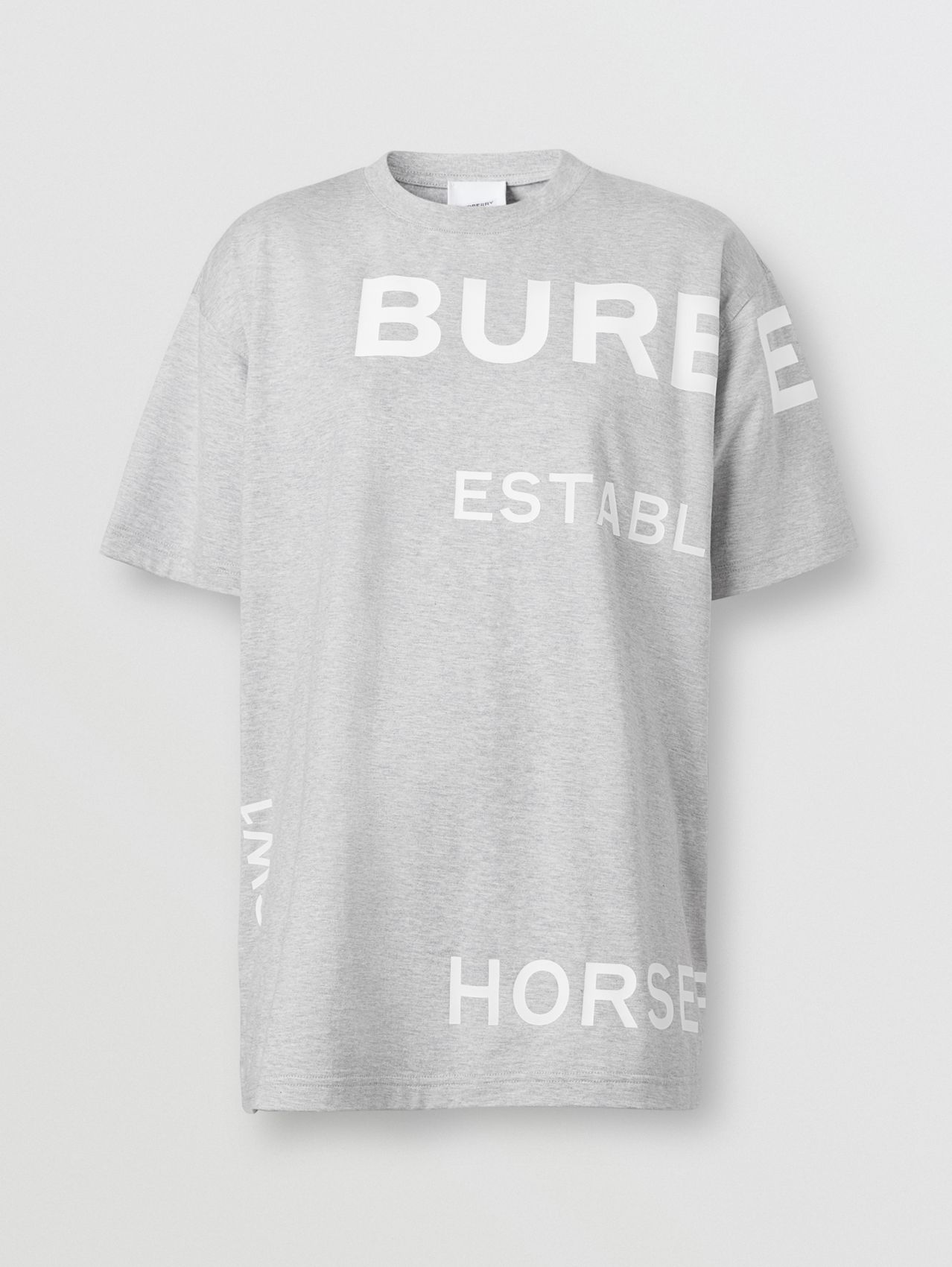 Horseferry Print Cotton Oversized T-shirt in Pale Grey Melange