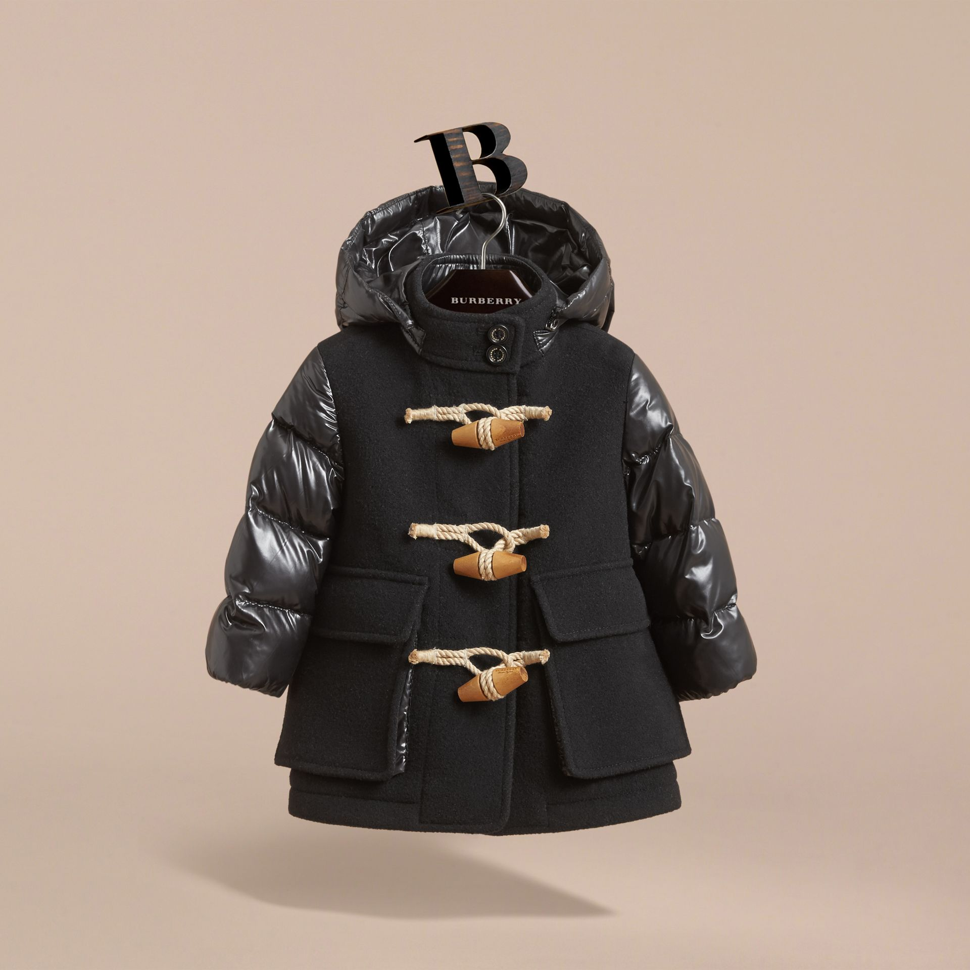 Detachable Hood Down-filled Wool Blend Duffle Coat in Black | Burberry - gallery image 3