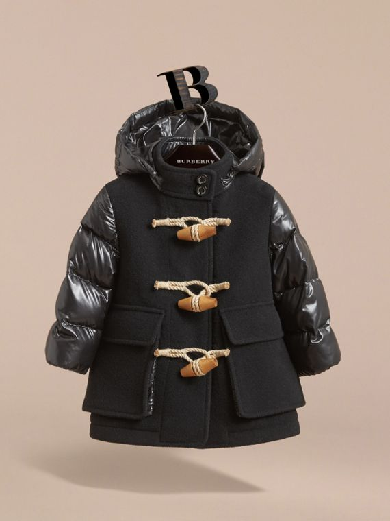 Detachable Hood Down-filled Wool Blend Duffle Coat in Black | Burberry - cell image 2