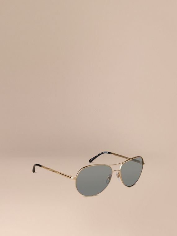 Gabardine Collection Aviator Sunglasses Gold