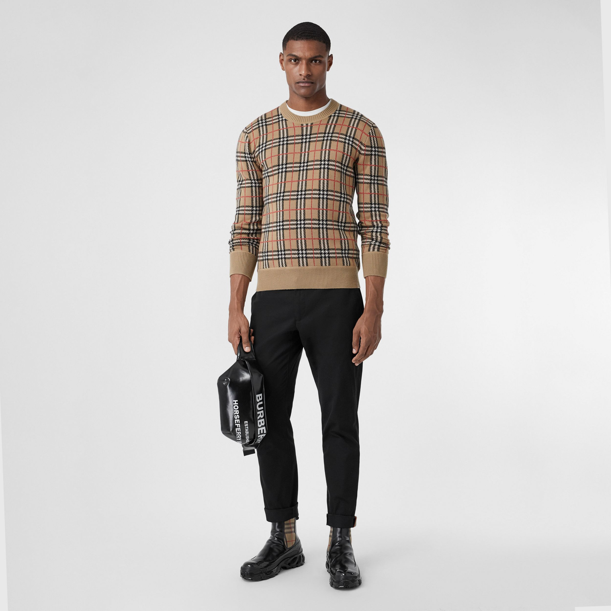 Slim Fit Cotton Chinos in Black - Men | Burberry United Kingdom - 1