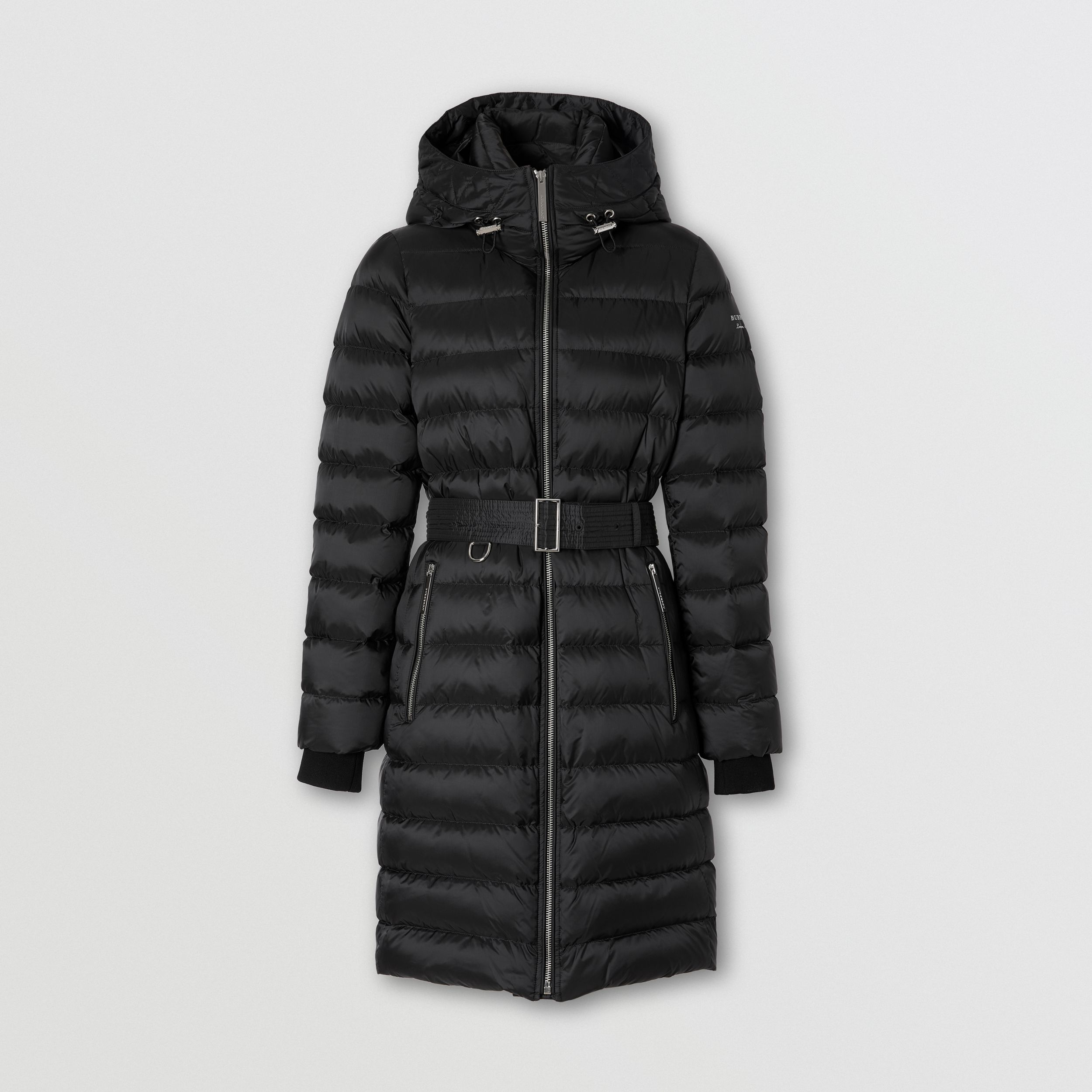 Logo Print Hooded Puffer Coat in Black - Women | Burberry - 1