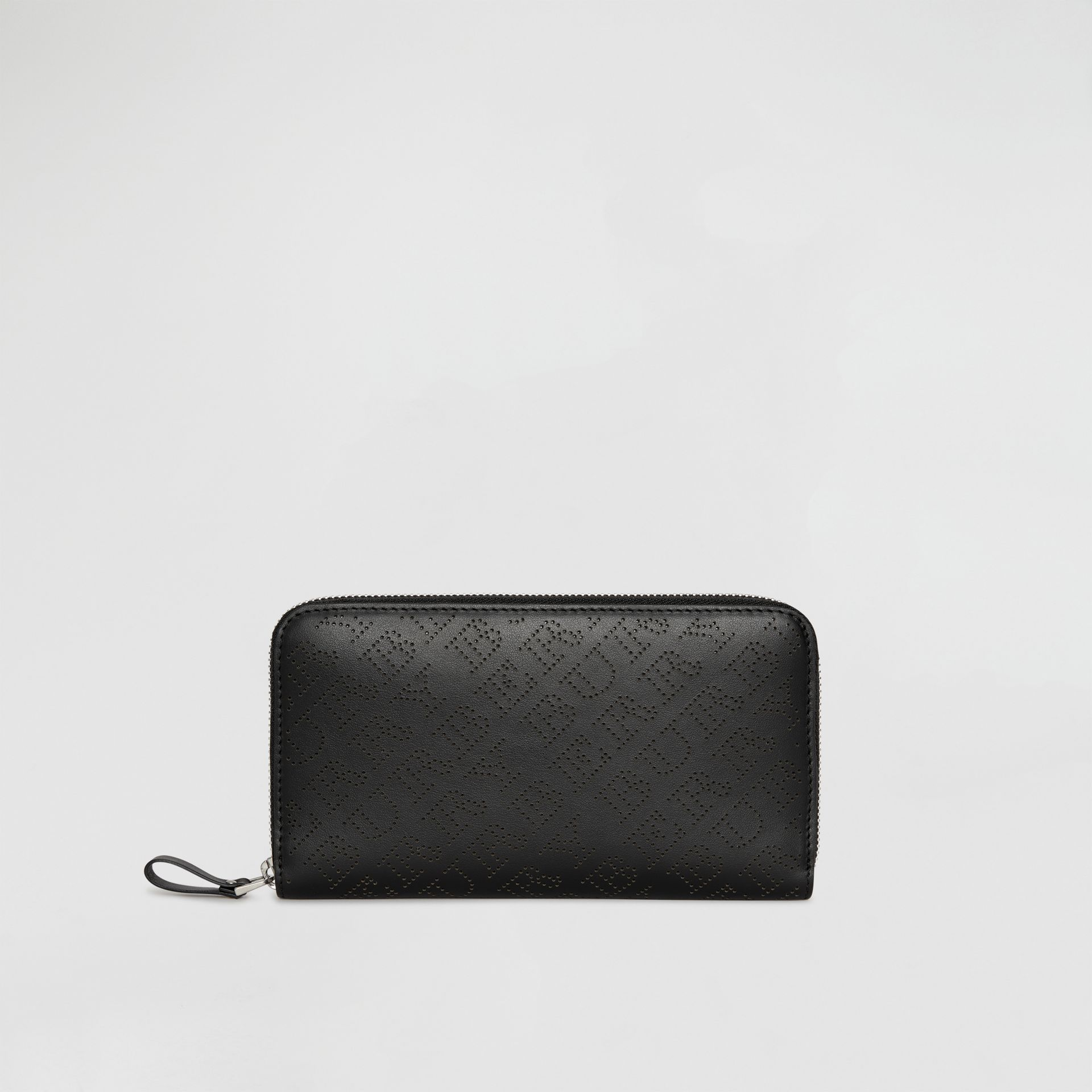 Perforated Leather Ziparound Wallet in Black - Women | Burberry - gallery image 0