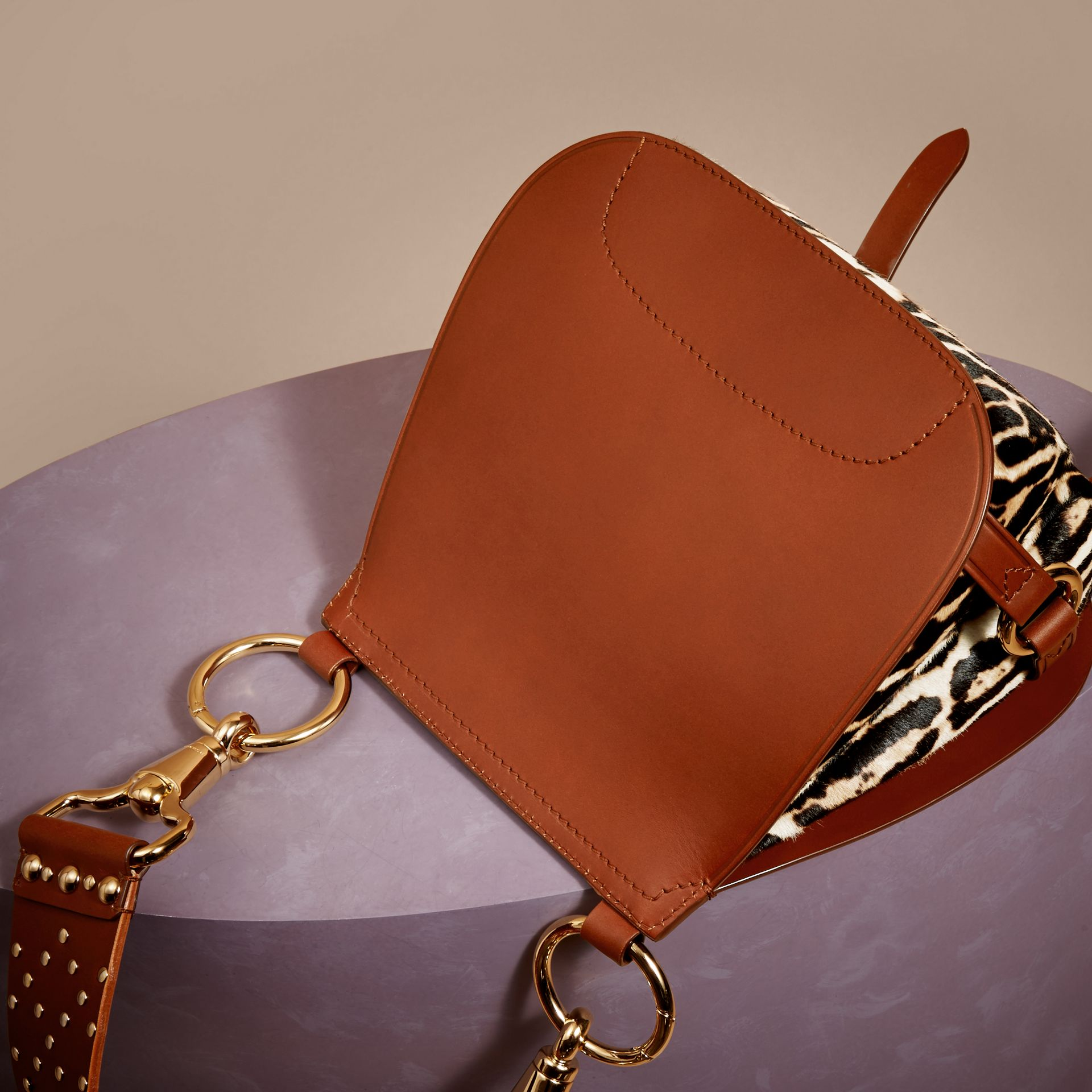 The Bridle Bag in Leopard-print Calfskin and Leather in Tan - Women | Burberry - gallery image 5