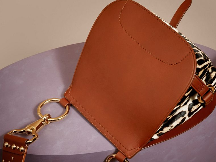 The Bridle Bag in Leopard-print Calfskin and Leather in Tan - Women | Burberry - cell image 4
