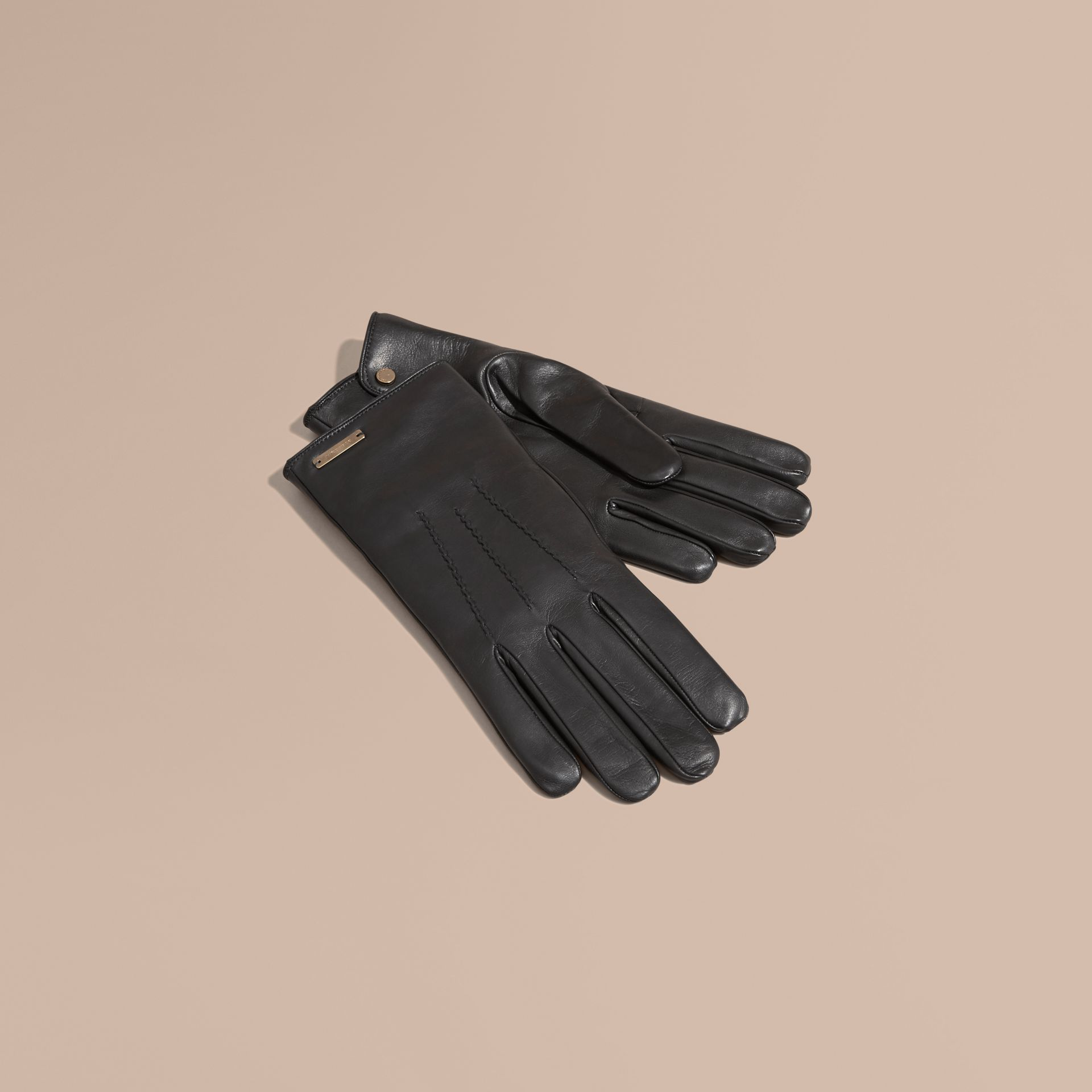 Black Cashmere Lined Lambskin Gloves Black - gallery image 1