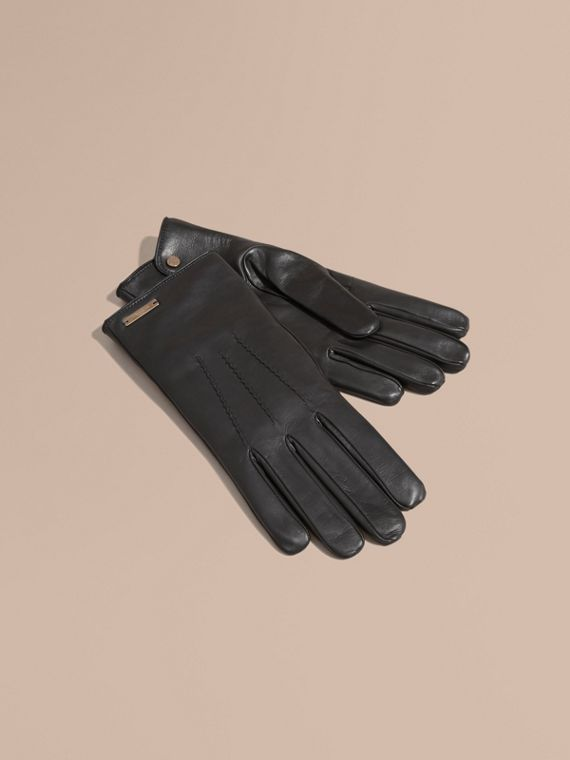 Cashmere Lined Lambskin Gloves in Black