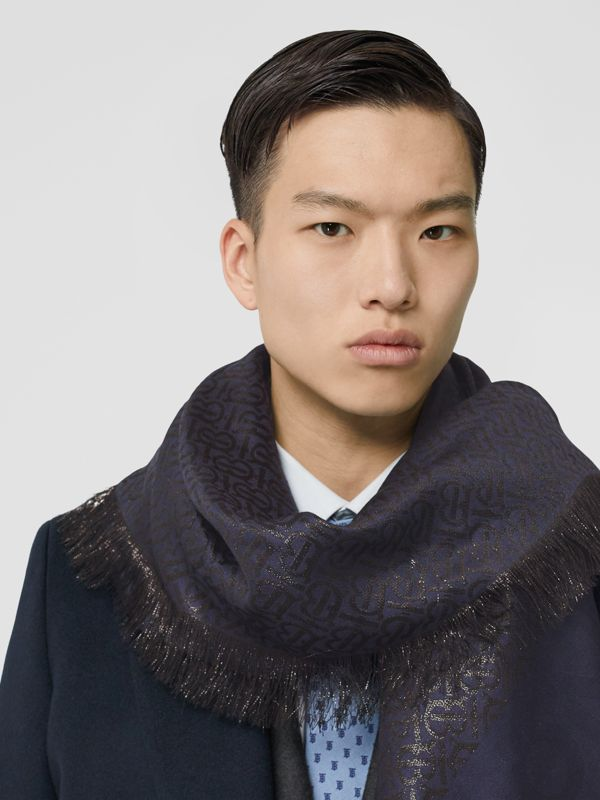 Metallic Monogram Silk Blend Large Square Scarf in Navy/black | Burberry - cell image 3