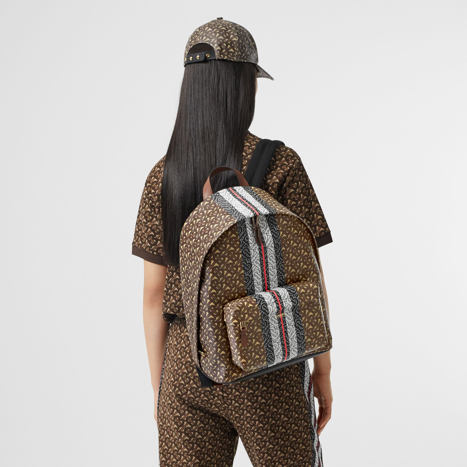 Monogram Stripe Print E-canvas Backpack in Bridle Brown | Burberry Singapore - gallery image 2
