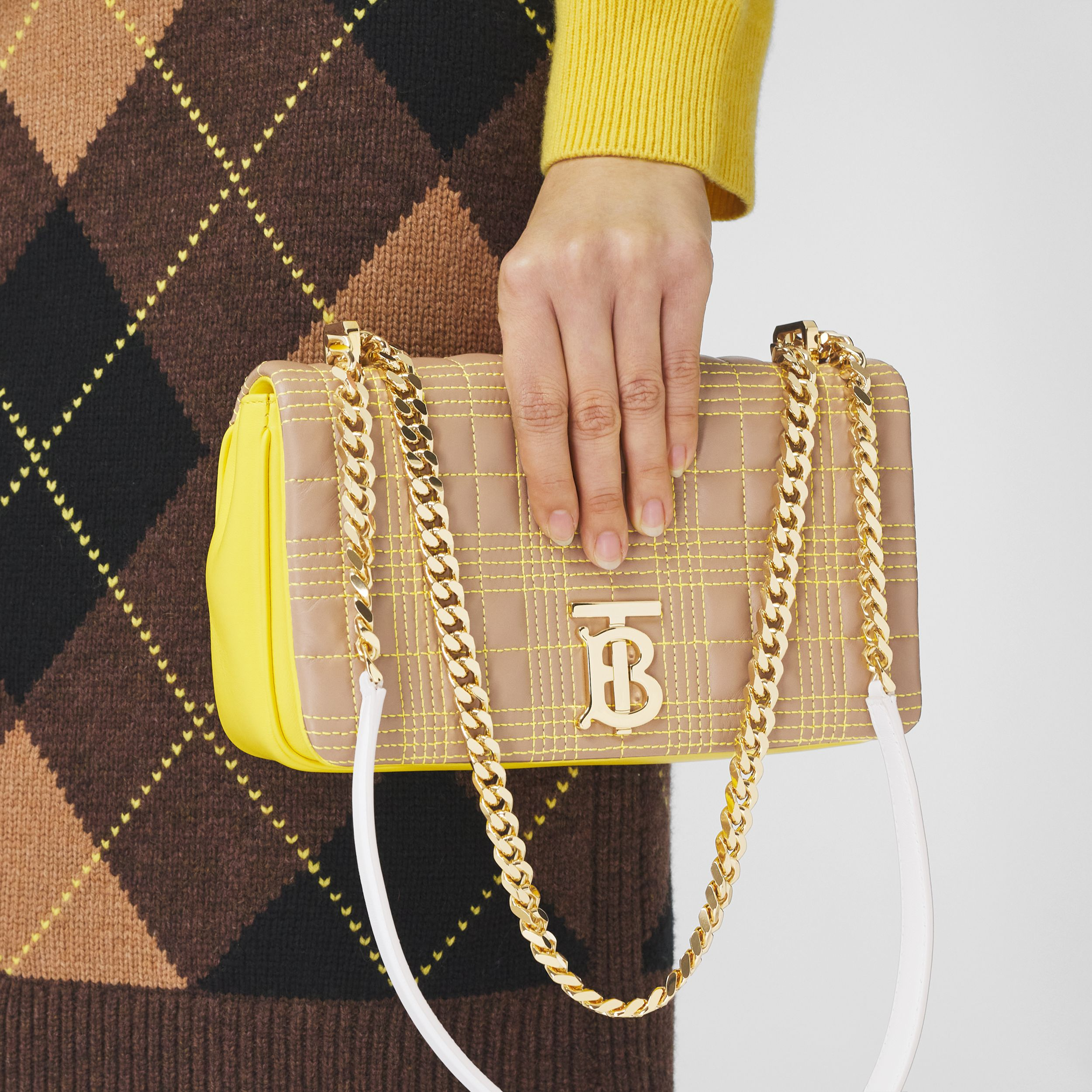 Small Quilted Tri-tone Lambskin Lola Bag in Camel/yellow - Women | Burberry - 3