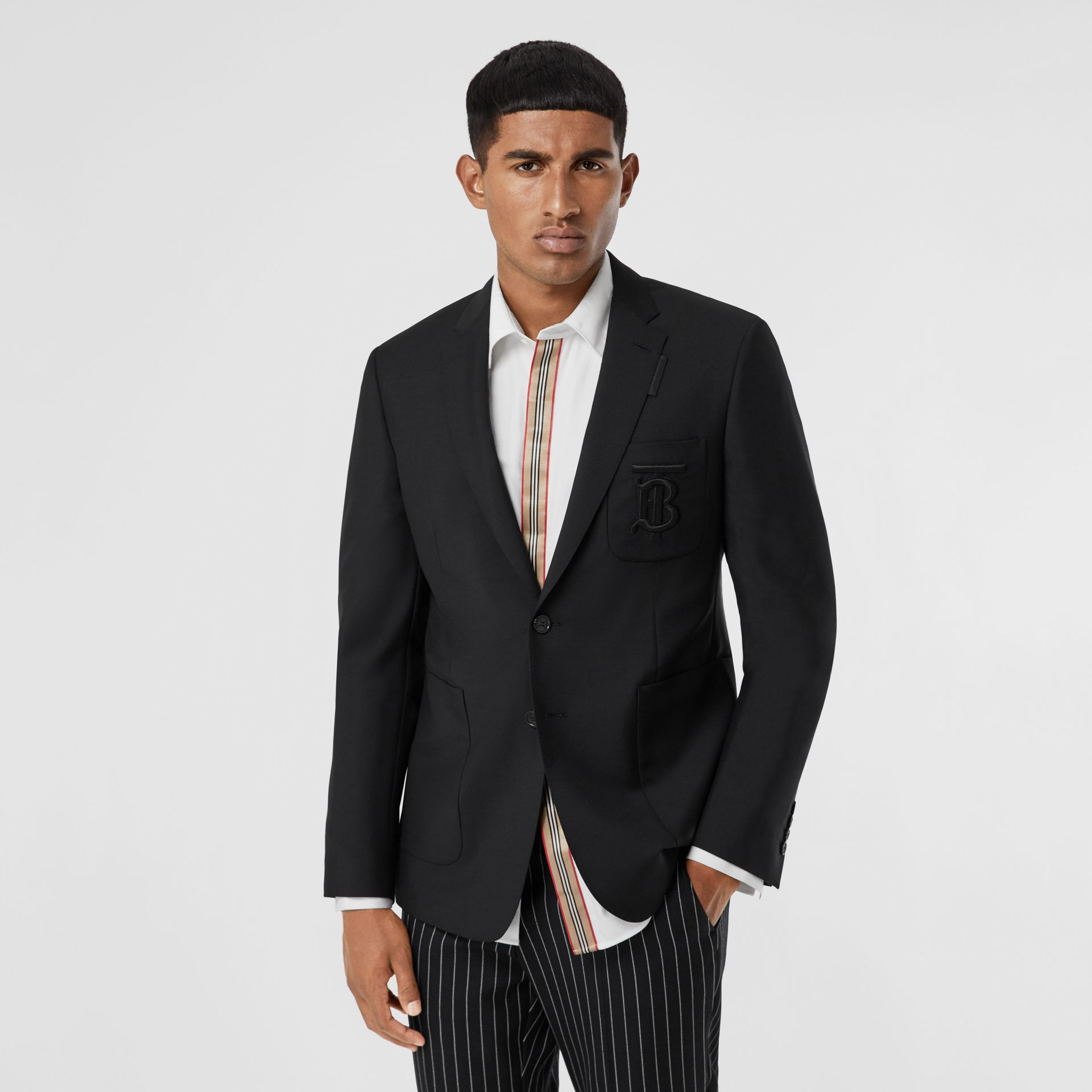 Slim Fit Monogram Motif Wool Mohair Tailored Jacket in Black - Men | Burberry Canada - gallery image 4