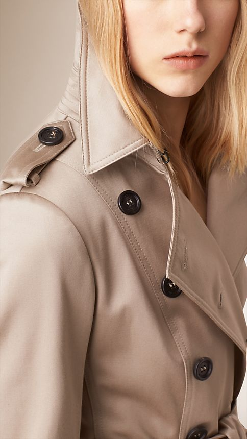 Stone Cotton Sateen Trench Coat - Image 4