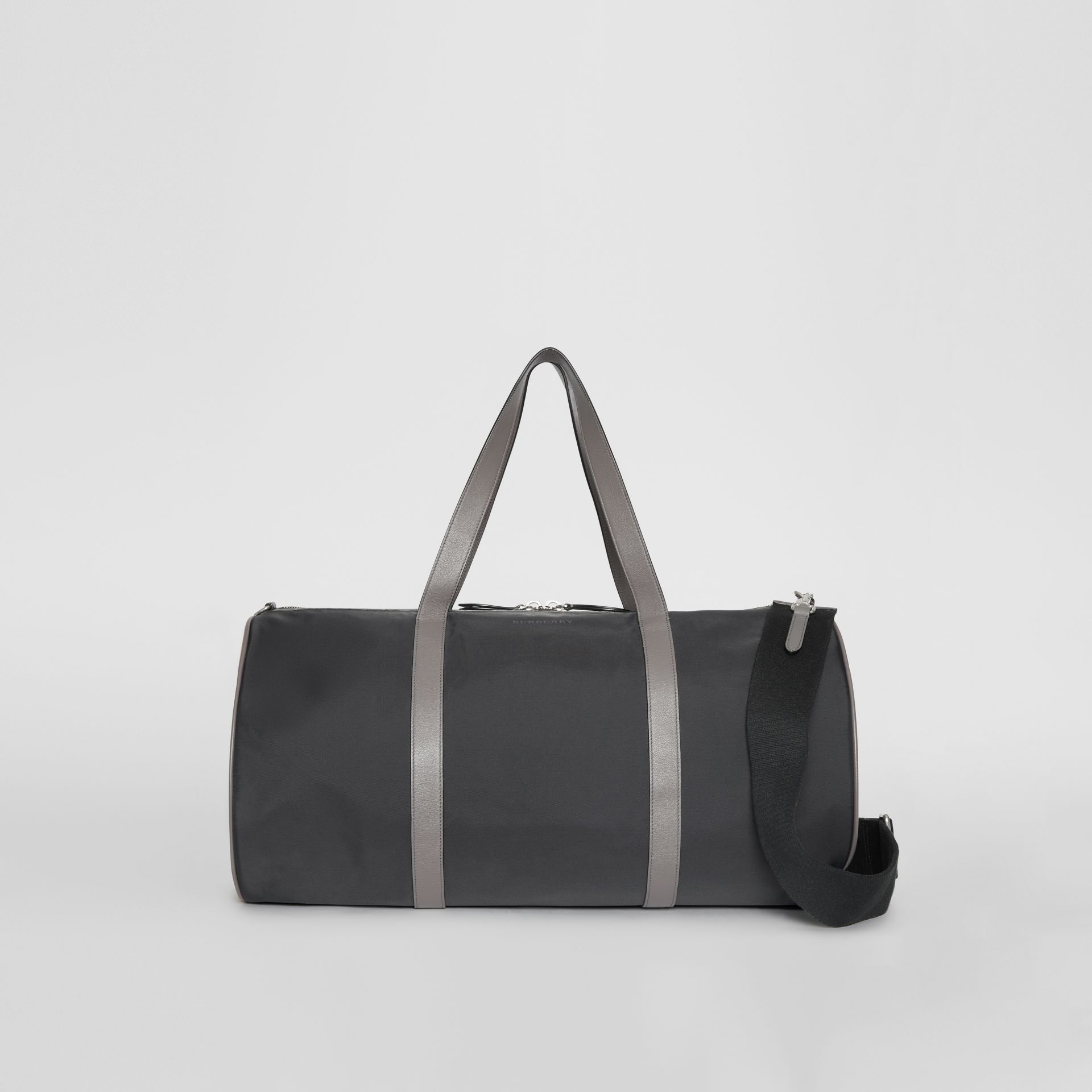 Large Nylon and Vintage Check Barrel Bag in Black - Men | Burberry Australia - gallery image 0