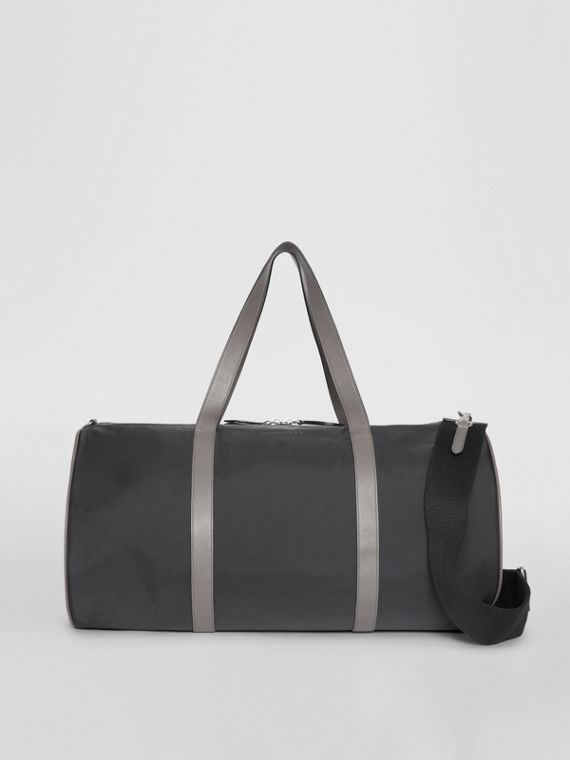 Large Nylon and Vintage Check Barrel Bag in Black