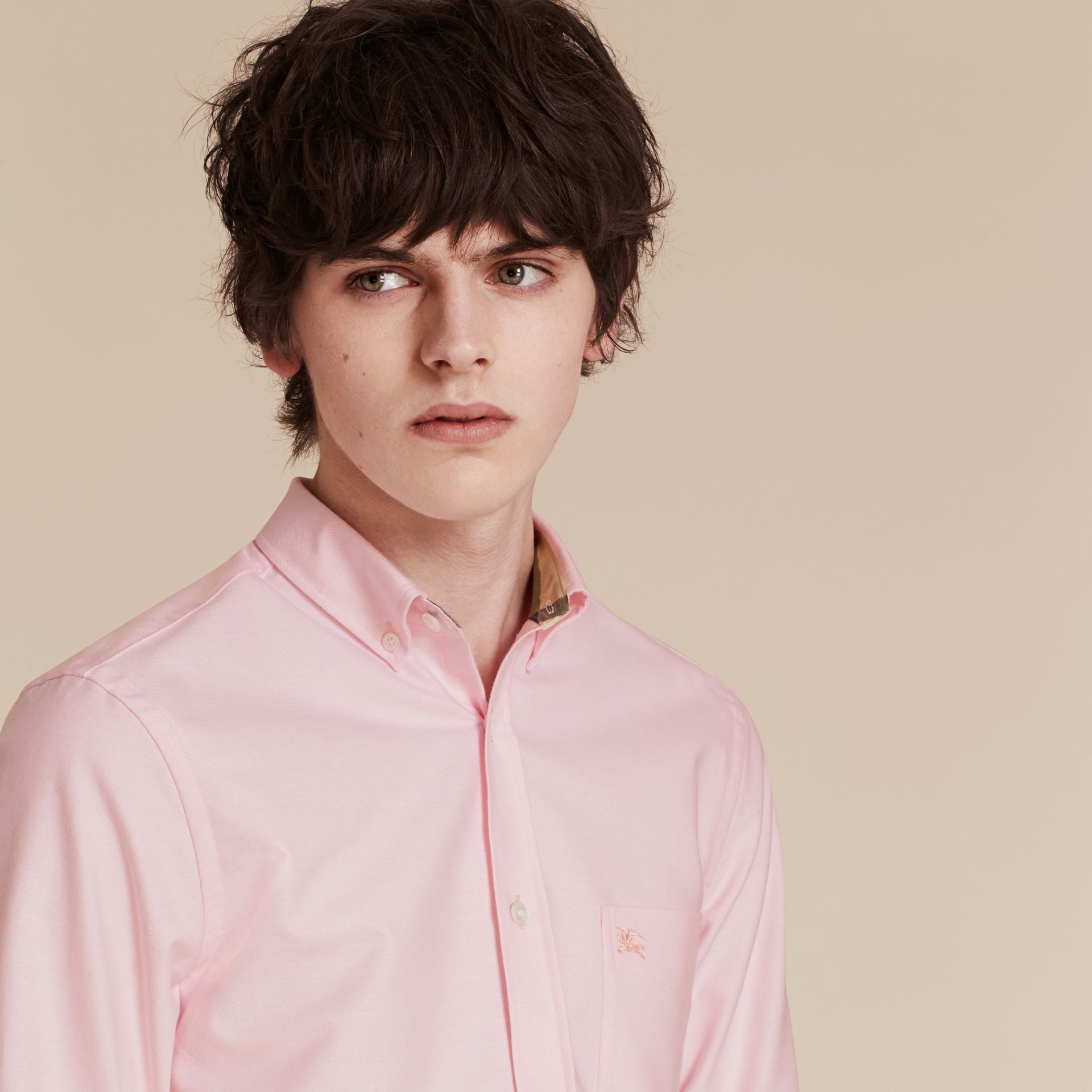 Check Detail Cotton Oxford Shirt in Pale Pink - gallery image 5