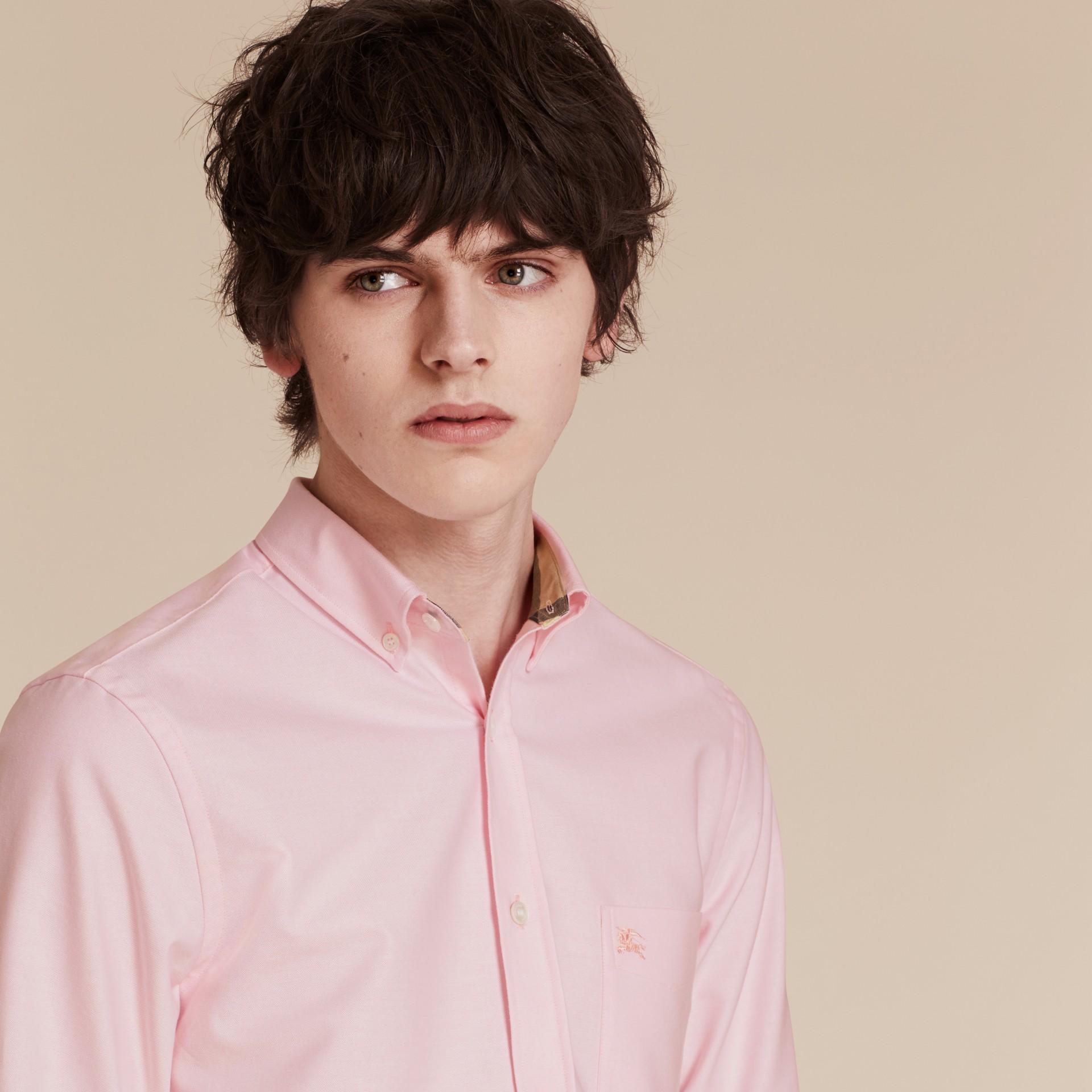 Бледно-розовый Рубашка из ткани «оксфорд» с отделкой в клетку Бледно-розовый - изображение 5