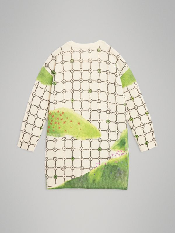 Flower Hill Print Cashmere Sweater Dress in Ivory | Burberry Singapore - cell image 3