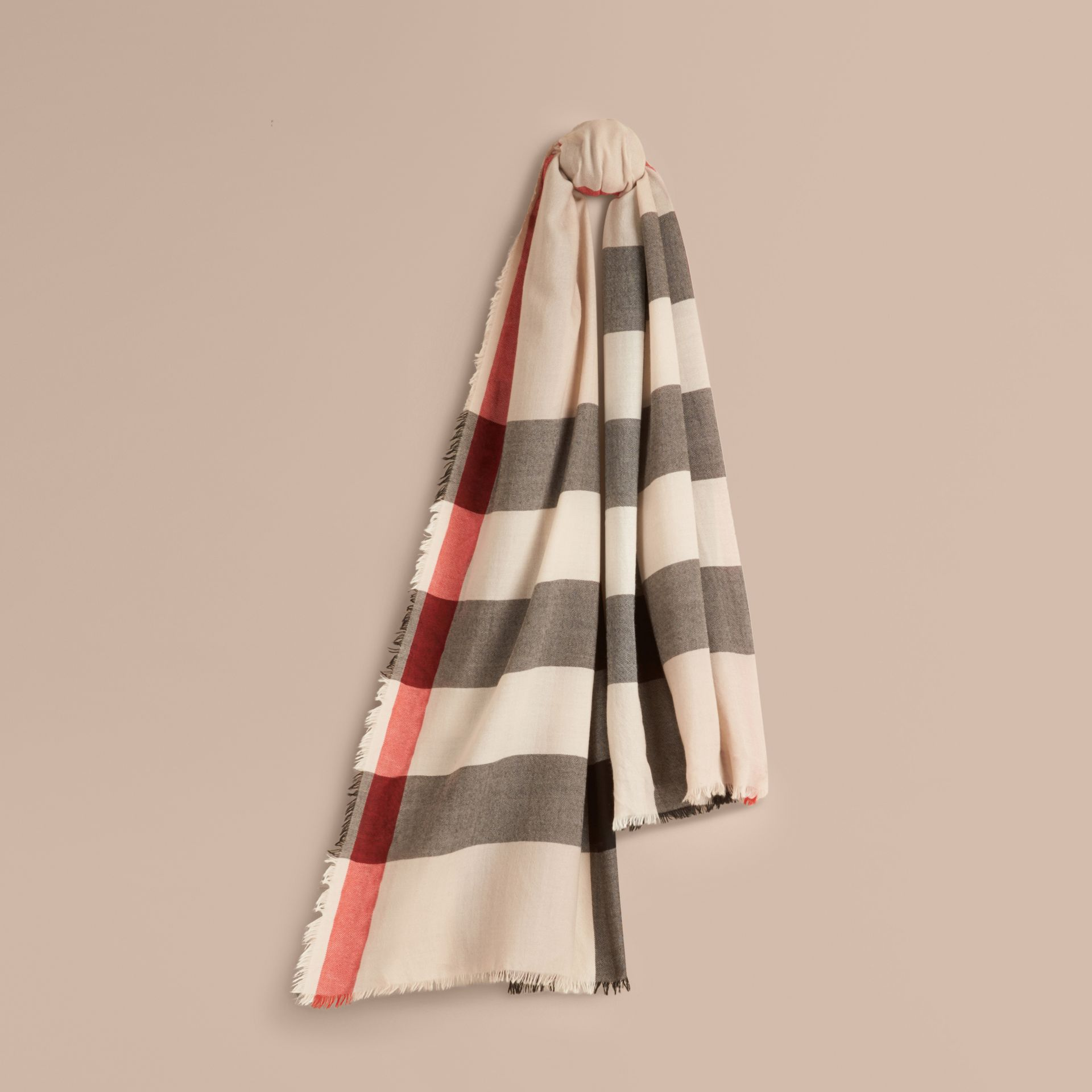 The Lightweight Cashmere Scarf in Check in Stone - gallery image 6