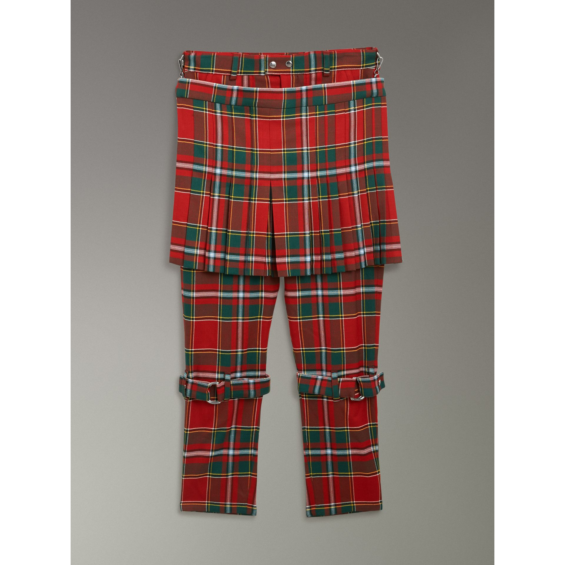 Modern Stewart Royal Tartan Punk Trousers in Bright Red | Burberry Singapore - gallery image 3