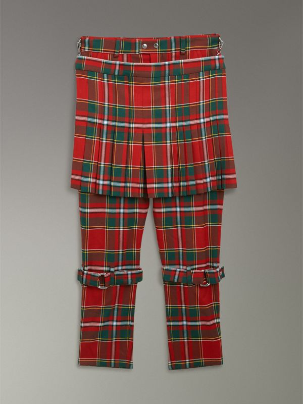 Modern Stewart Royal Tartan Punk Trousers in Bright Red | Burberry United Kingdom - cell image 3