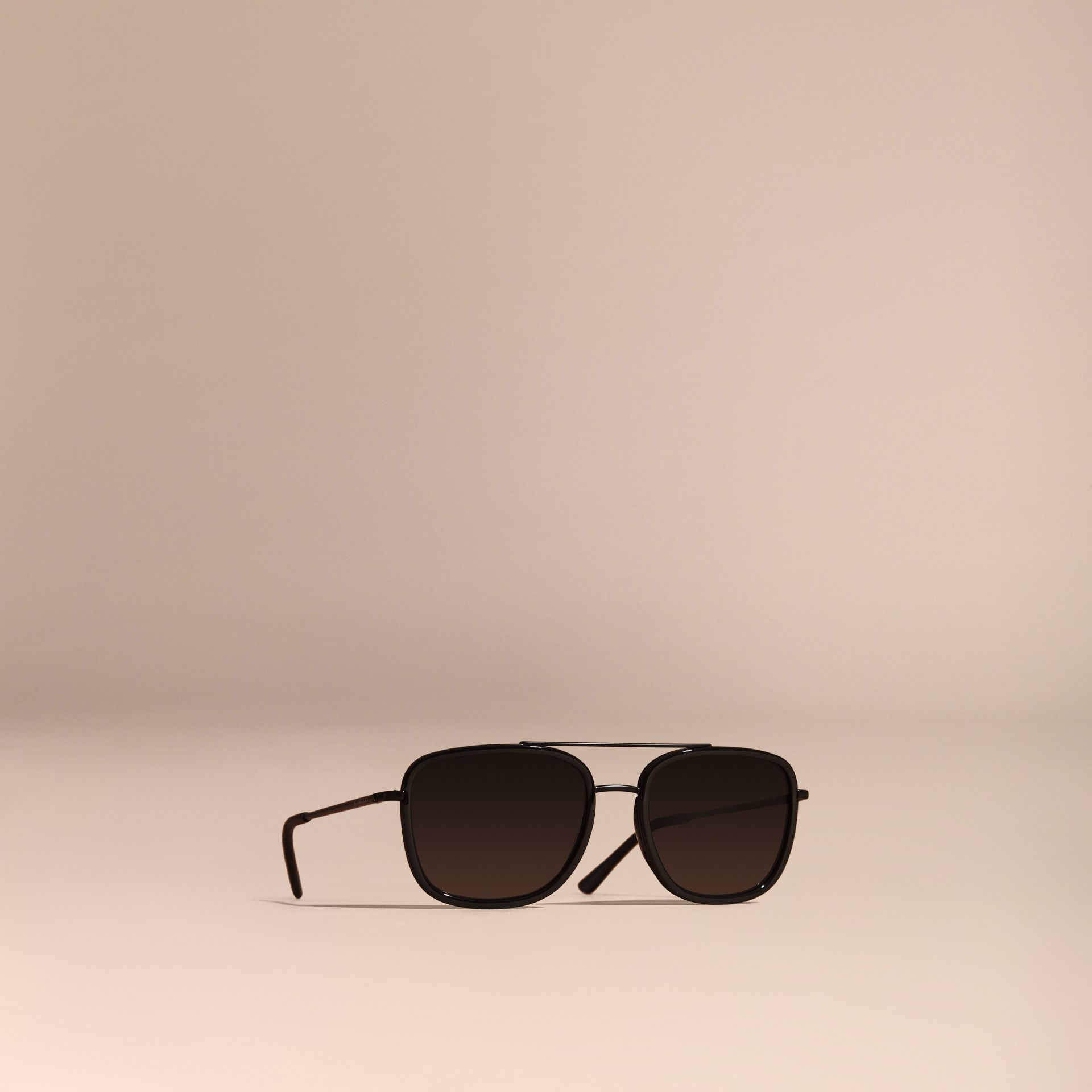 Black Square Frame Acetate and Leather Sunglasses Black - gallery image 1