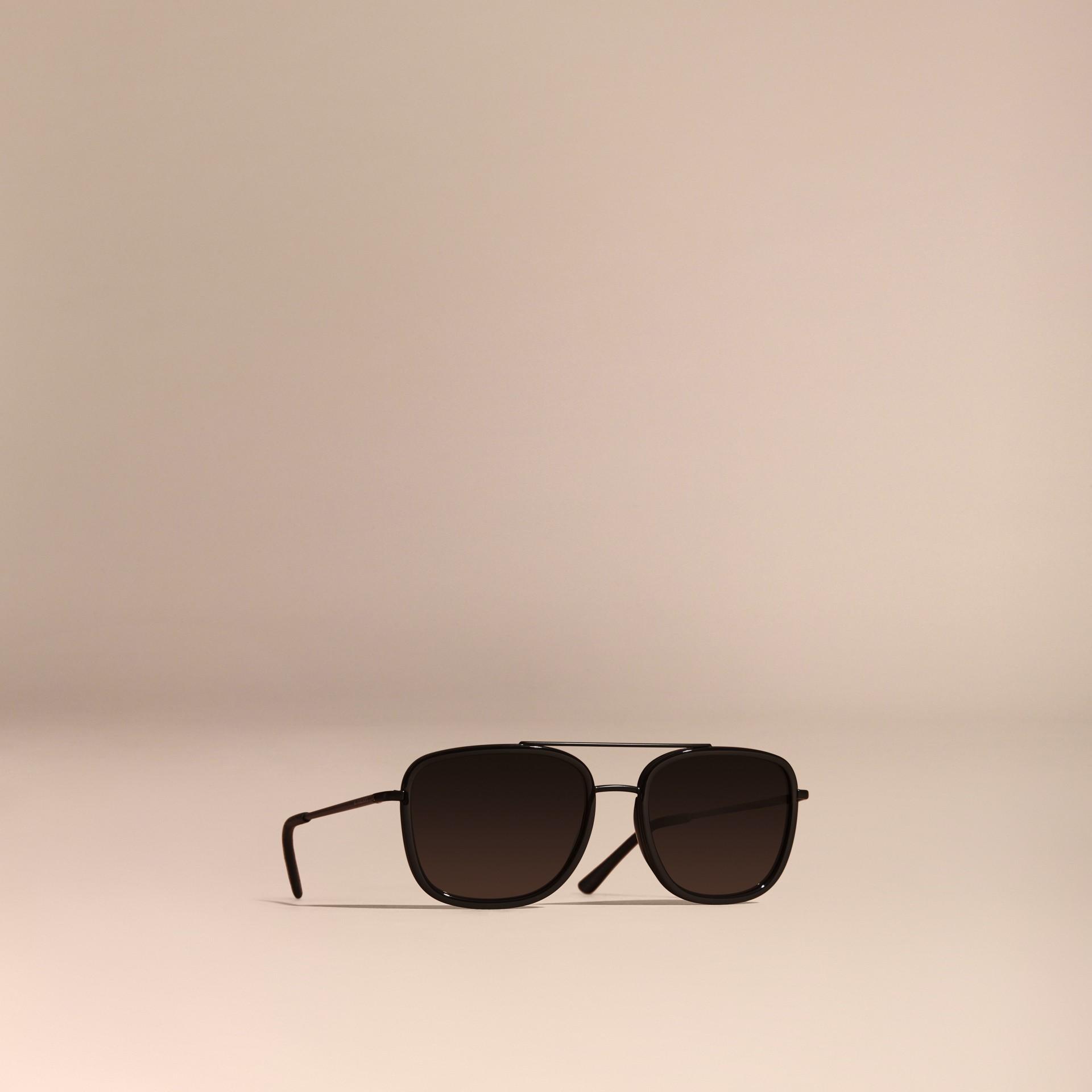 Nero Occhiali da sole con montatura squadrata in acetato e pelle Nero - immagine della galleria 1