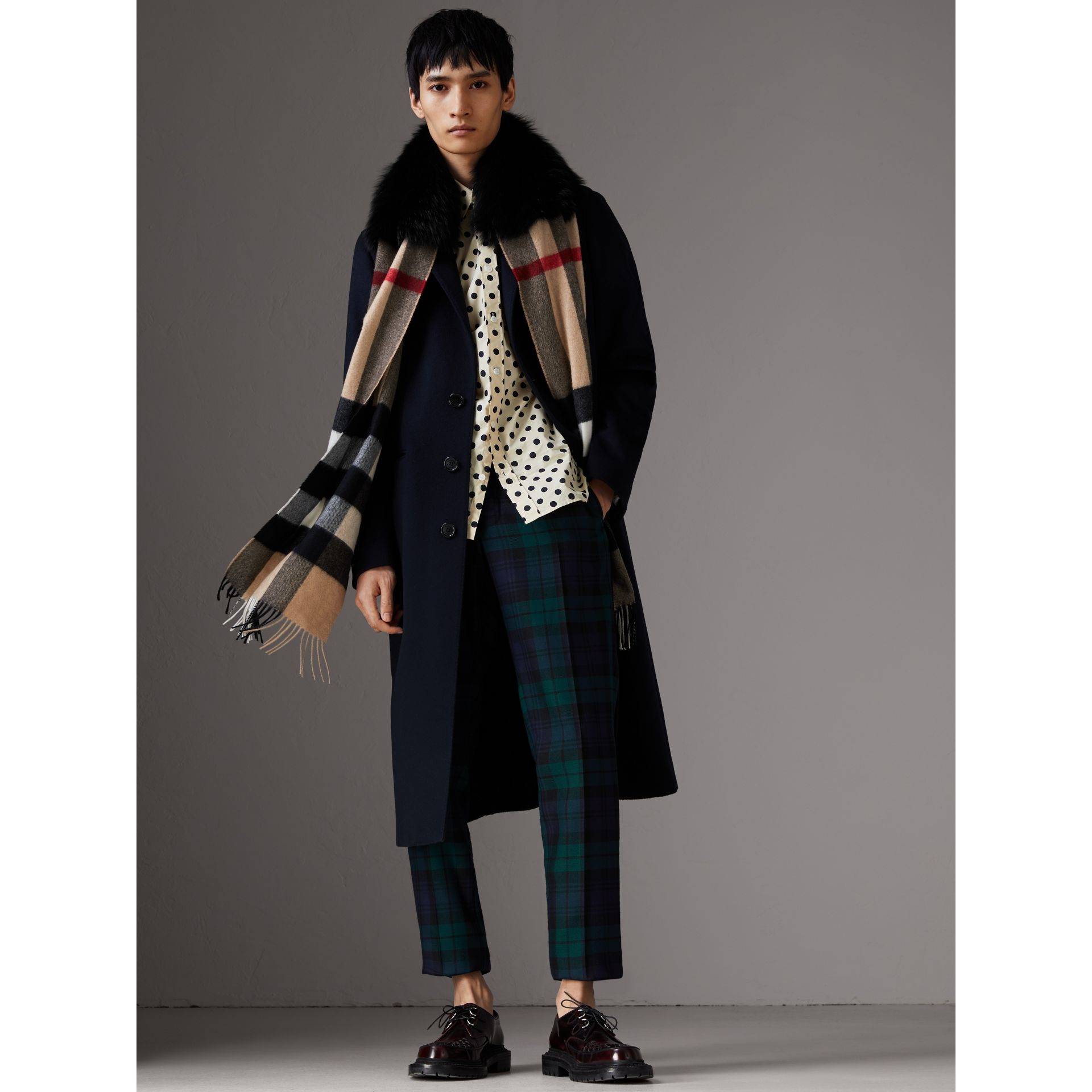 Fox Fur Trim Check Cashmere Scarf in Camel/black - Women | Burberry - gallery image 3