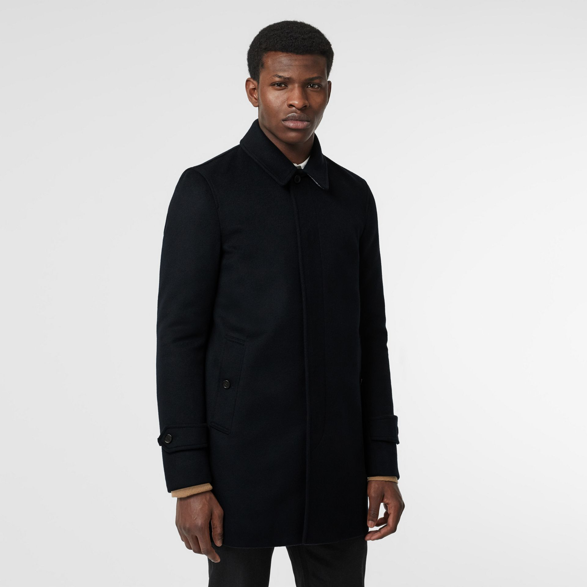 Wool Cashmere Car Coat in Navy - Men | Burberry - gallery image 6