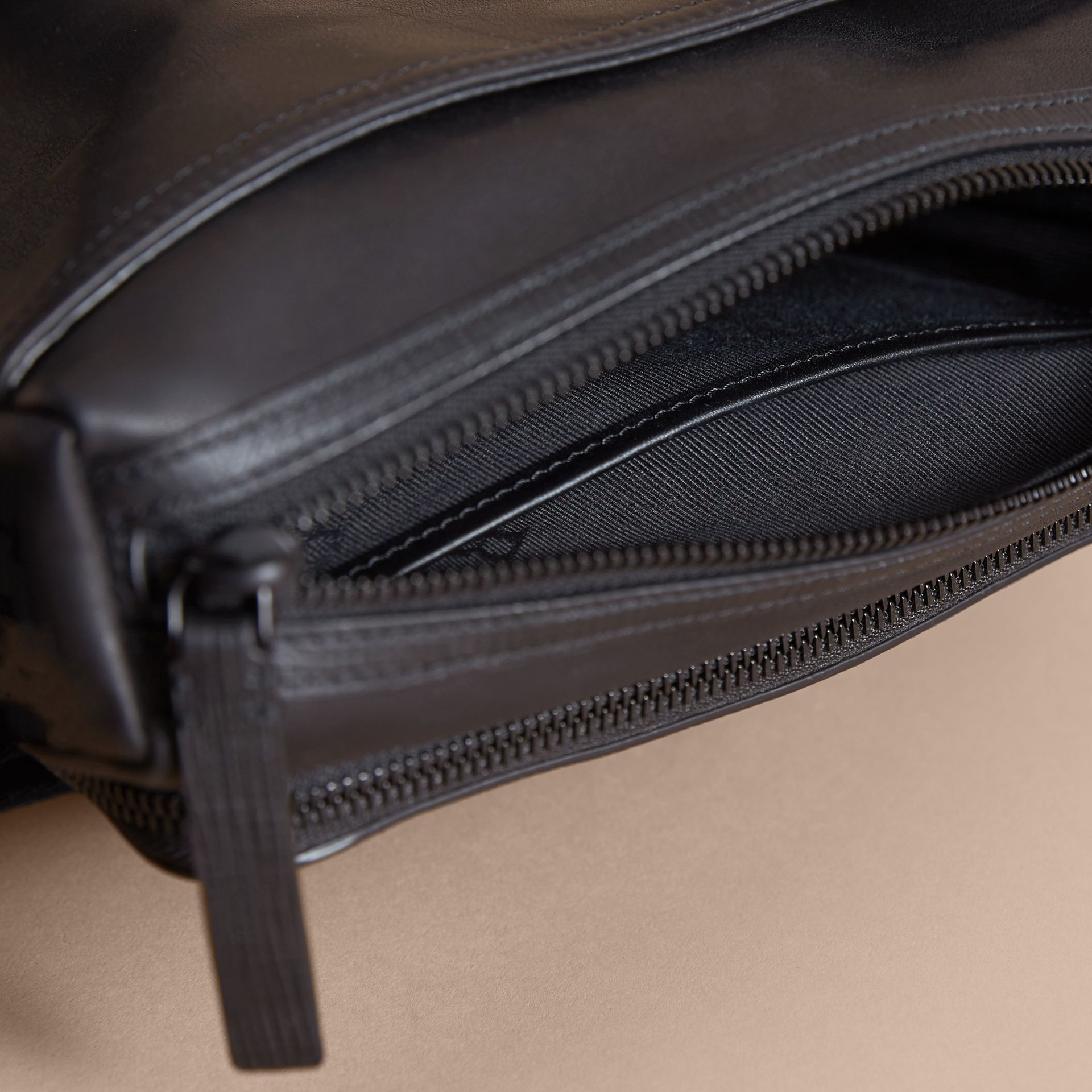 Leather Crossbody Bag in Black - Men | Burberry Australia - gallery image 5