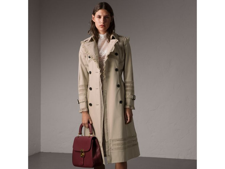 Lace Detail Cotton Gabardine Trench Coat - Women | Burberry - cell image 4