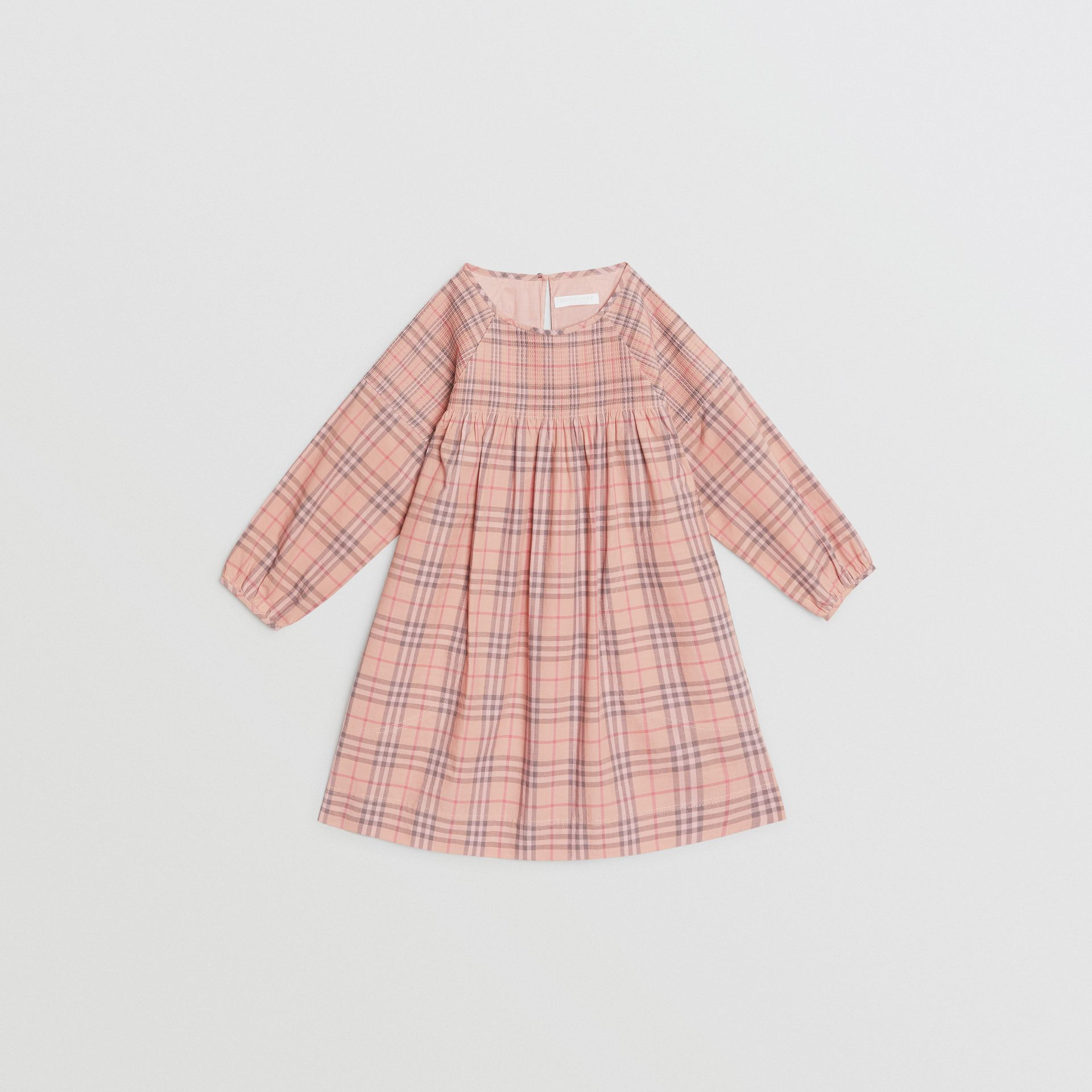 Check Cotton Poplin Dress in Pale Pink | Burberry - gallery image 0