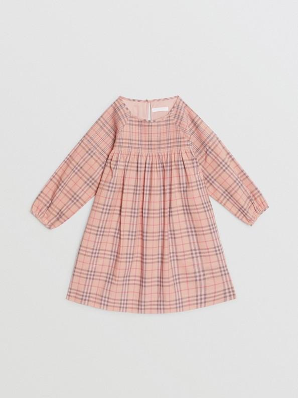 Robe en popeline de coton à motif check (Rose Pâle)