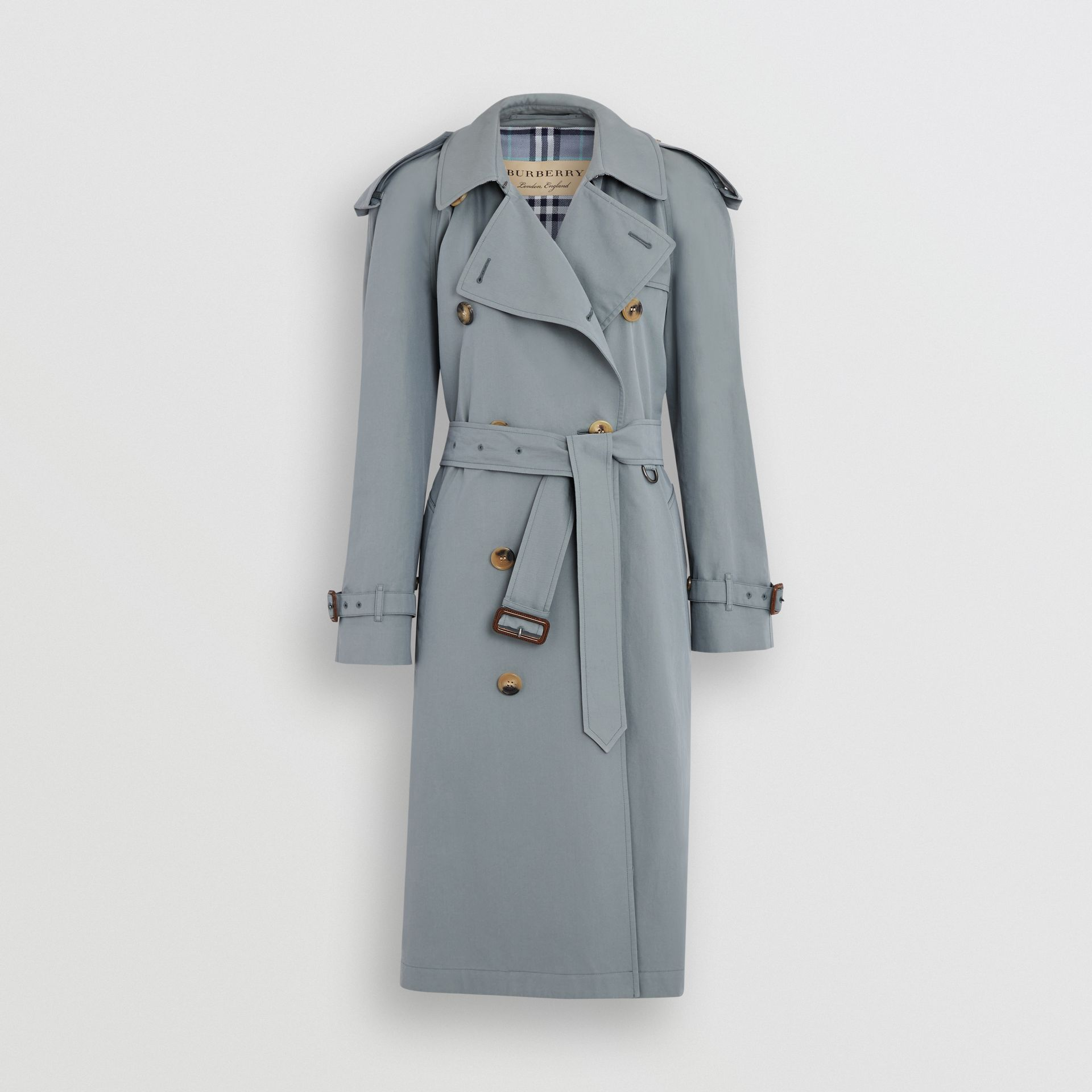 Wool-lined Tropical Gabardine Trench Coat in Dusty Blue - Women | Burberry United Kingdom - gallery image 3