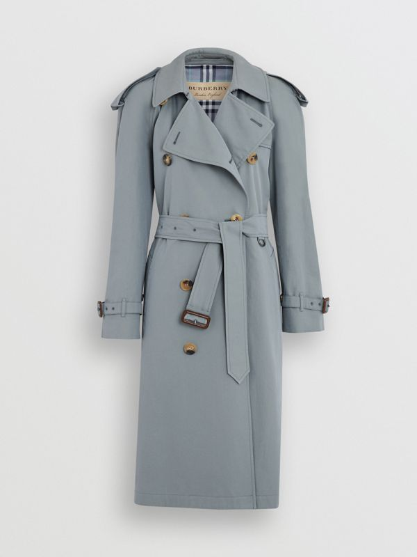 Wool-lined Tropical Gabardine Trench Coat in Dusty Blue - Women | Burberry United Kingdom - cell image 3