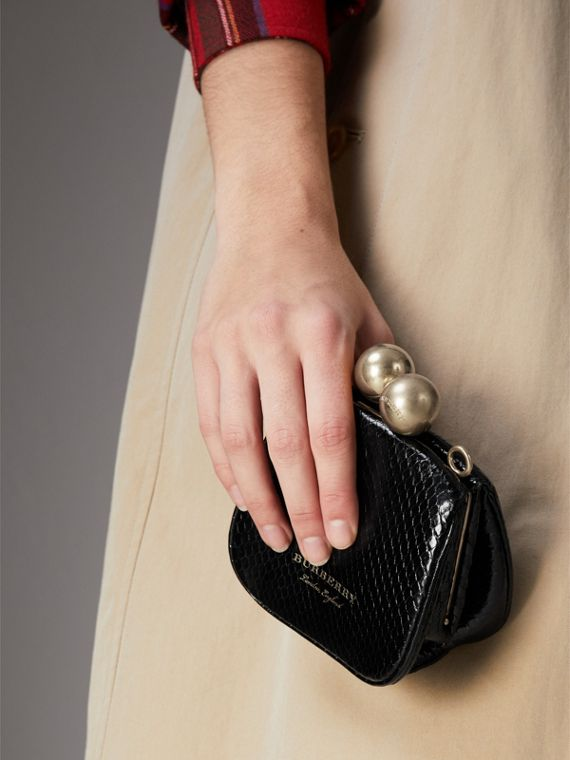 Mini Two-tone Python Metal Frame Clutch Bag in Black - Women | Burberry Singapore - cell image 3