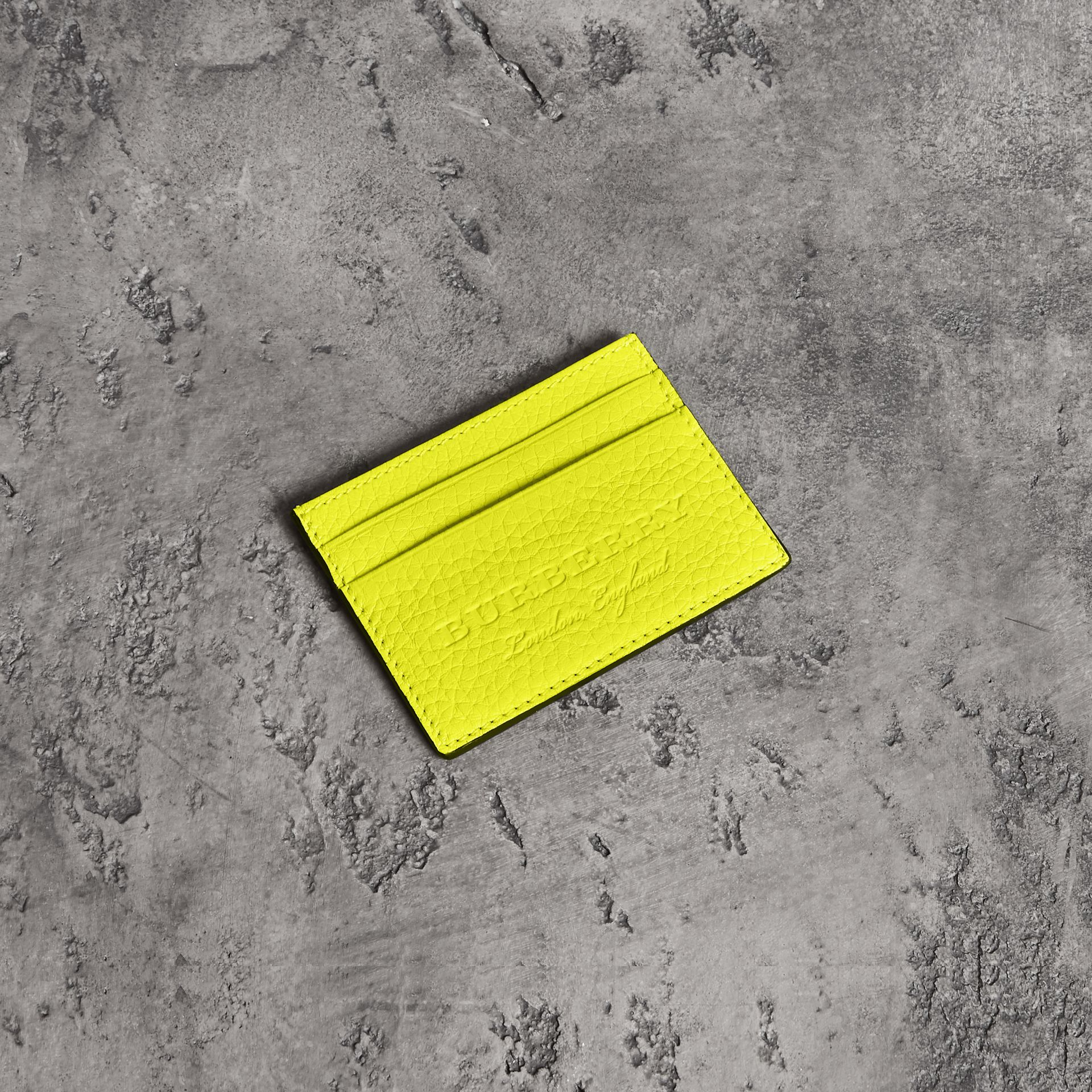 Embossed Textured Leather Card Case in Neon Yellow | Burberry - gallery image 0