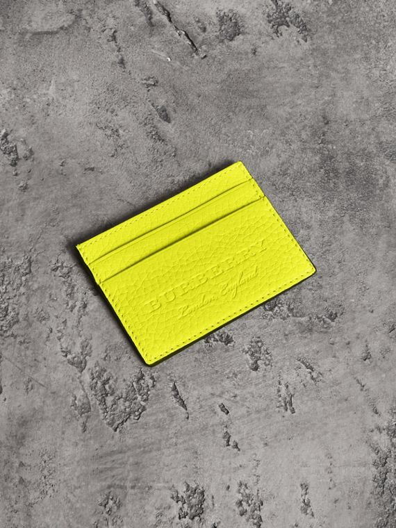 Embossed Textured Leather Card Case in Neon Yellow
