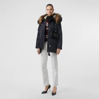 Faux Fur Trim Parka With Detachable Warmer by Burberry
