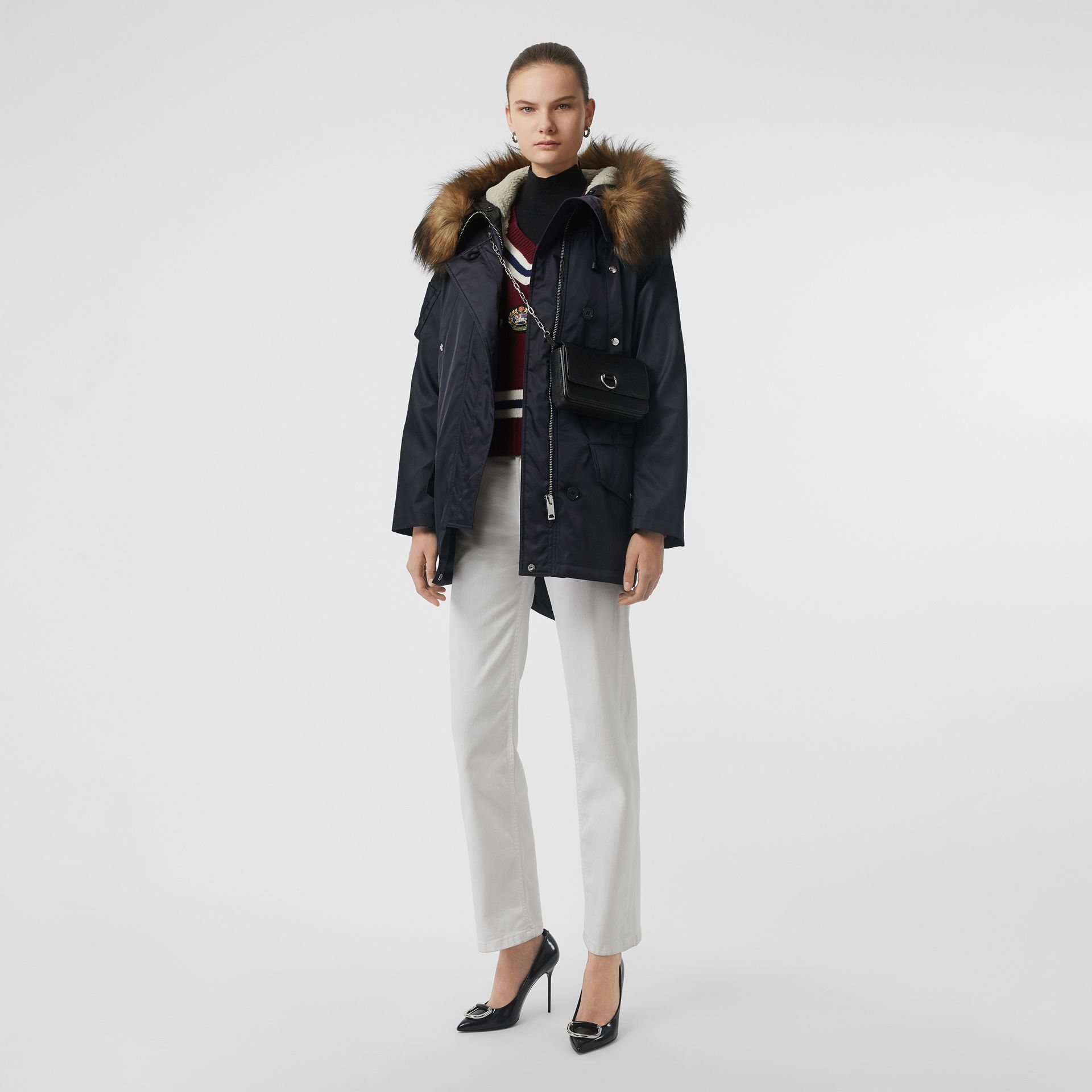 Faux Fur Trim Parka with Detachable Warmer in Dark Navy - Women | Burberry - gallery image 0
