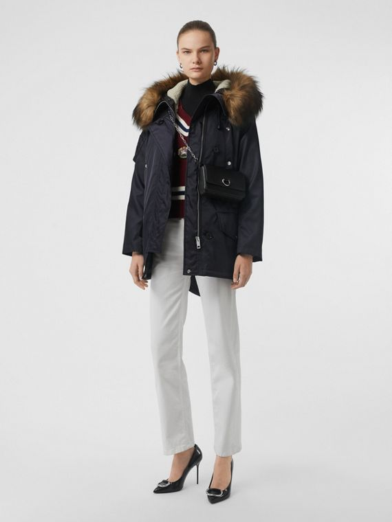 Faux Fur Trim Parka with Detachable Warmer in Dark Navy