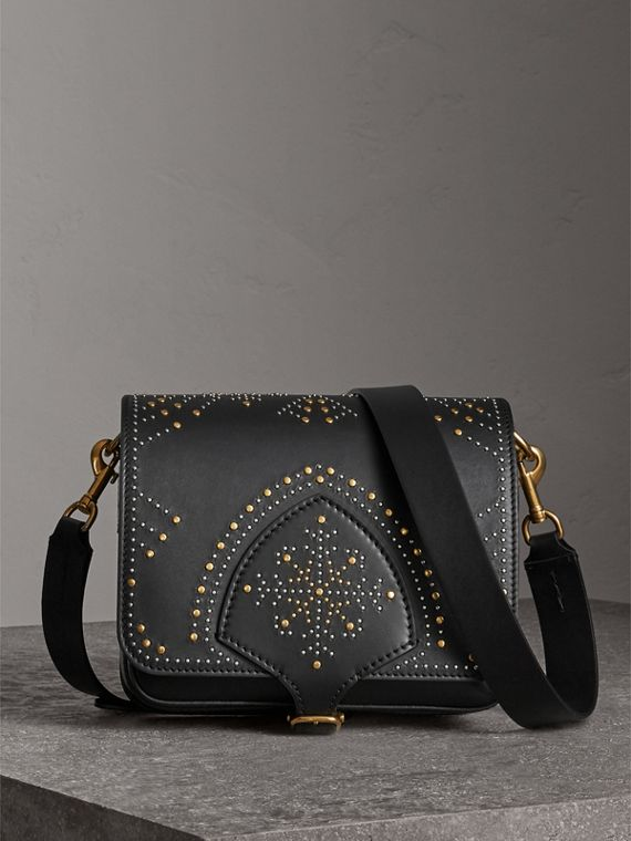 The Satchel squadrata in pelle con rivetti (Nero)