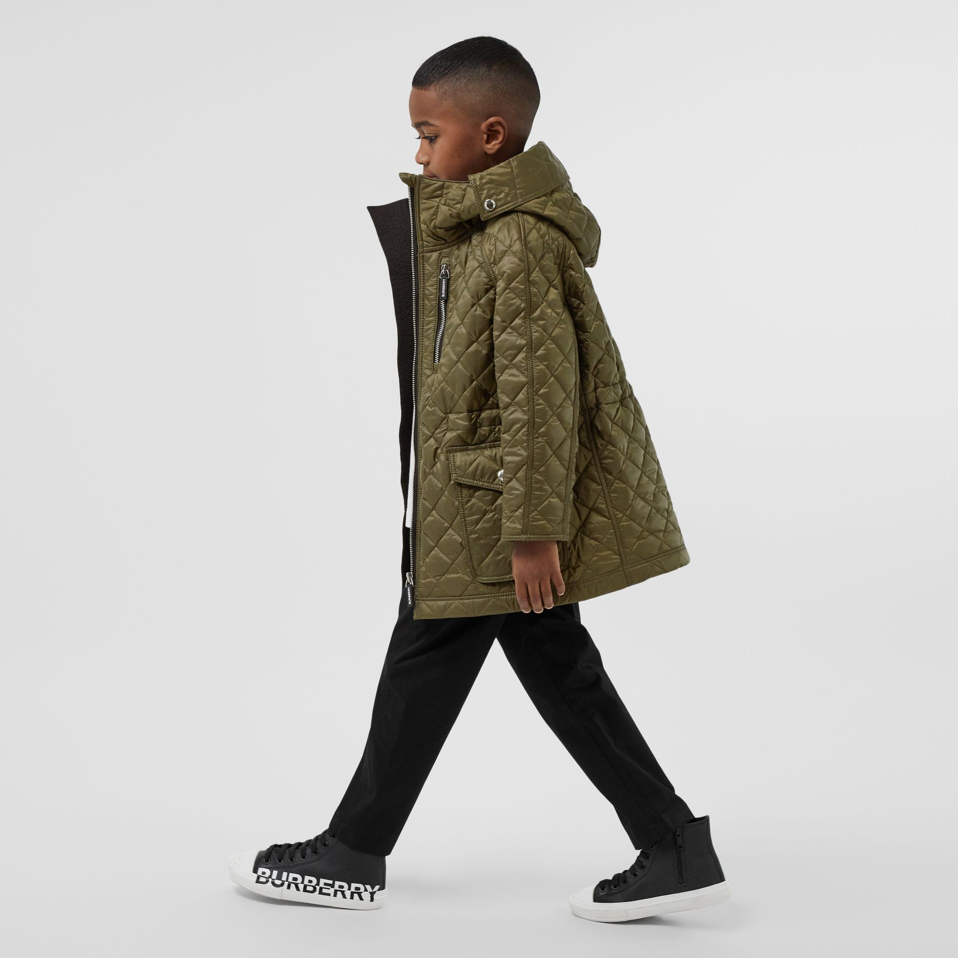 Diamond Quilted Hooded Coat in Military Olive | Burberry - gallery image 2
