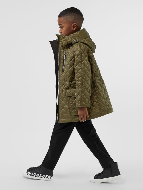 Diamond Quilted Hooded Coat in Military Olive | Burberry - cell image 2