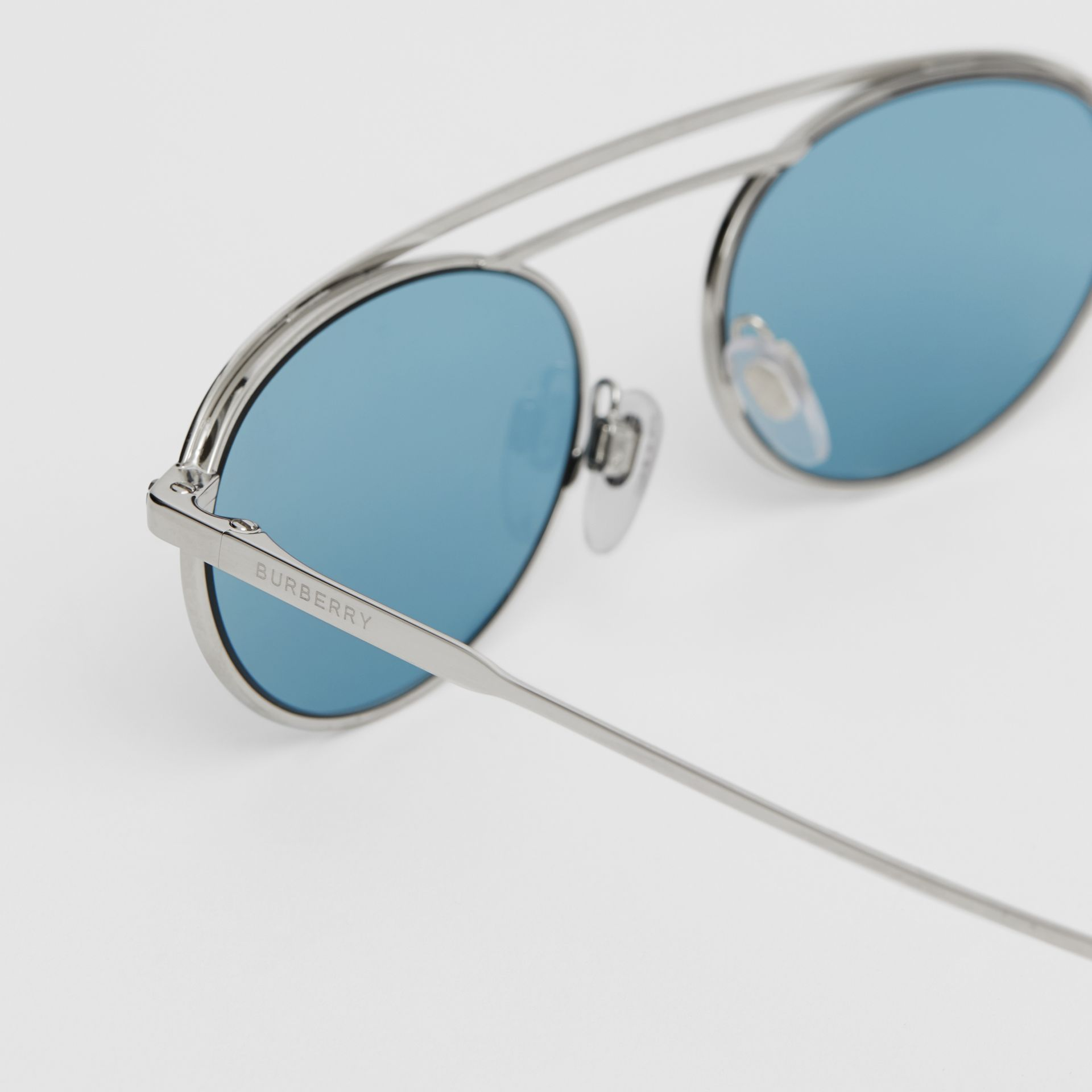Oval Frame Sunglasses in Light Blue - Women | Burberry - gallery image 1