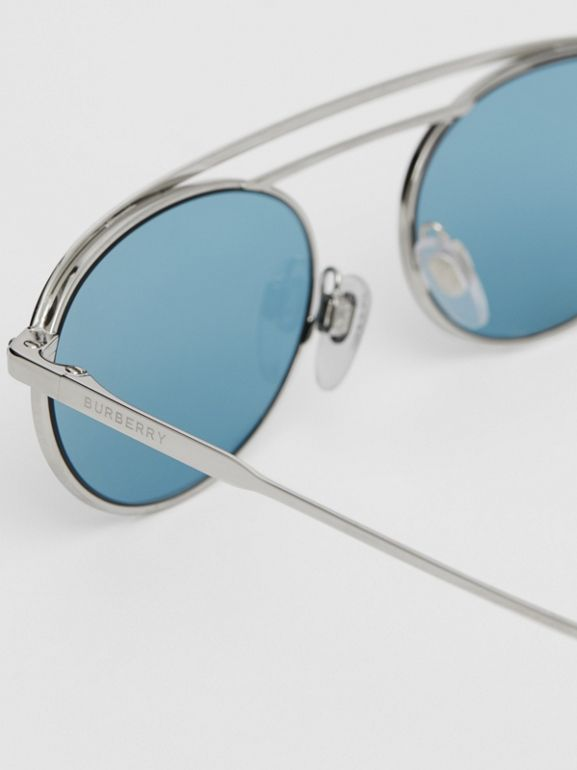 Oval Frame Sunglasses in Light Blue - Women | Burberry - cell image 1