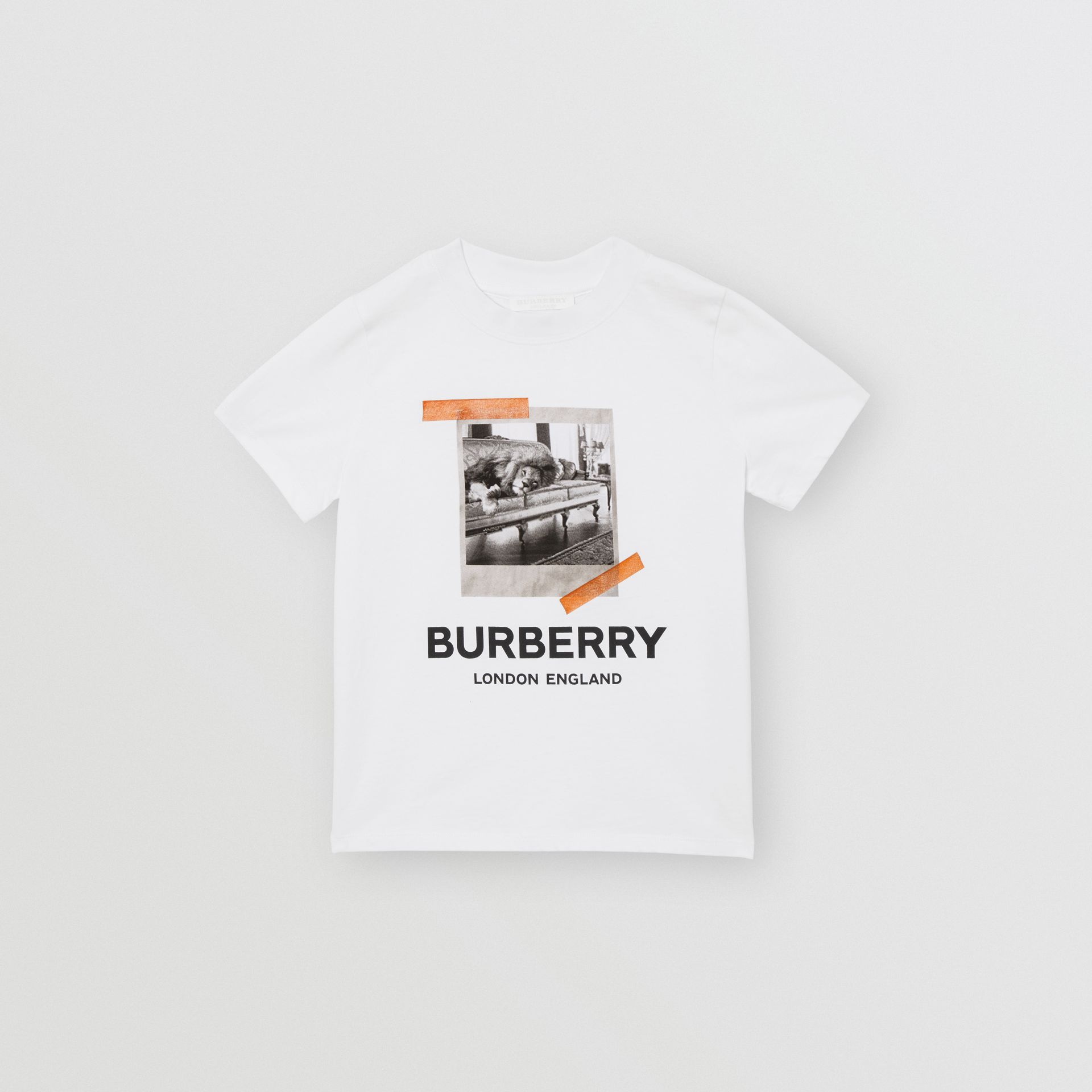 Vintage Polaroid Print Cotton T-shirt in White - Children | Burberry Australia - gallery image 0