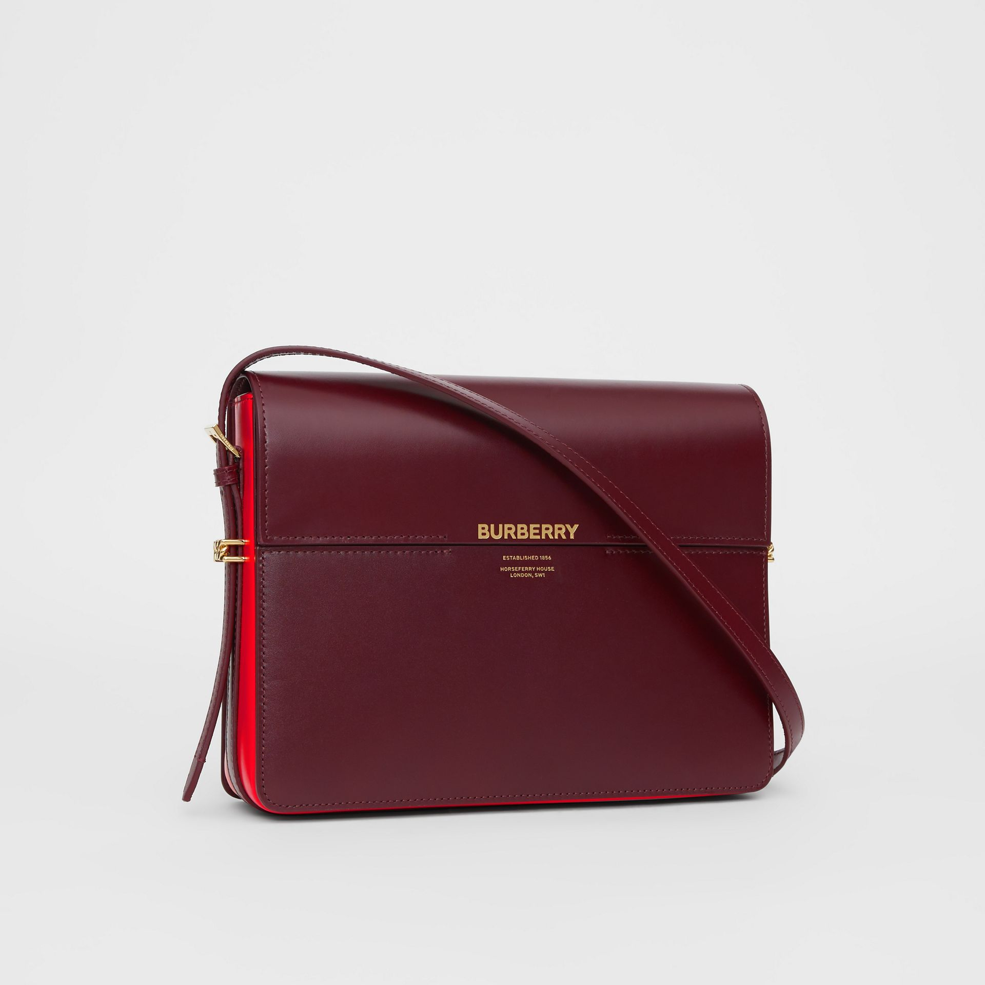 Grand sac Grace en cuir bicolore (Oxblood/rouge Militaire Vif) - Femme | Burberry - photo de la galerie 6