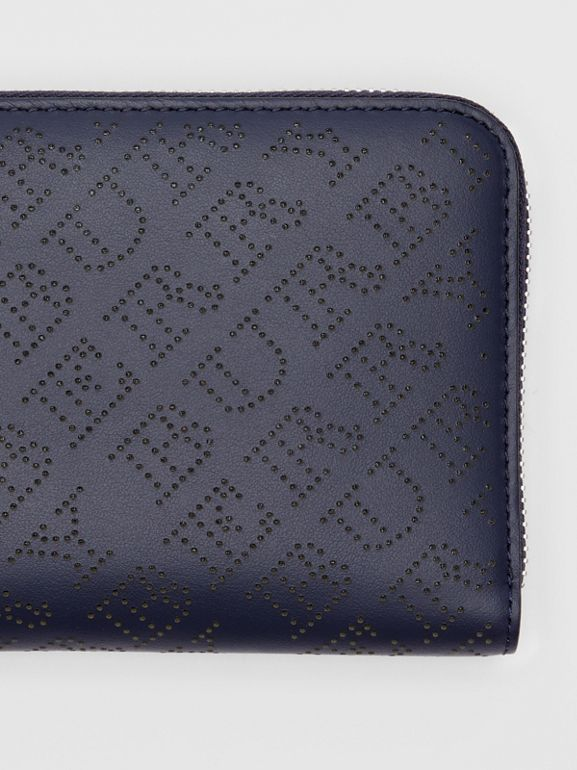 Perforated Leather Ziparound Wallet in Navy - Women | Burberry United Kingdom - cell image 1