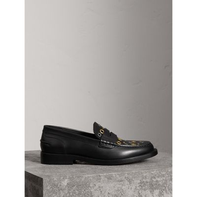 Burberry - Mocassins Penny Loafers en cuir avec œillets - 5
