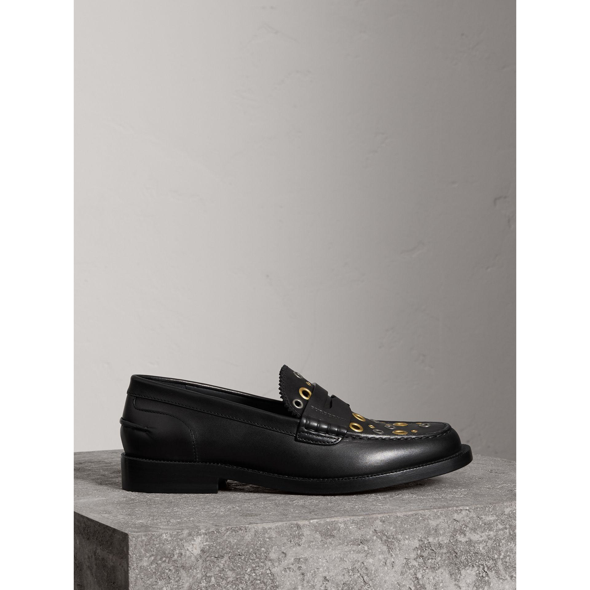 Eyelet Detail Leather Penny Loafers in Black - Women | Burberry Australia - gallery image 4